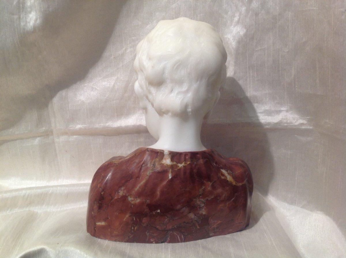 Sculpture Buste De Garçon En Marbre Blanc Et Rouge 1900-photo-1