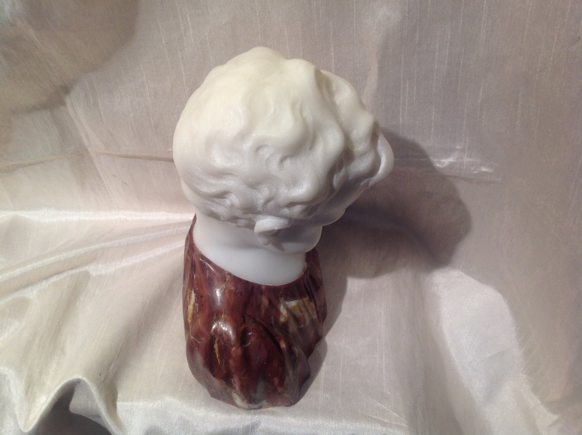 Sculpture Buste De Garçon En Marbre Blanc Et Rouge 1900-photo-3