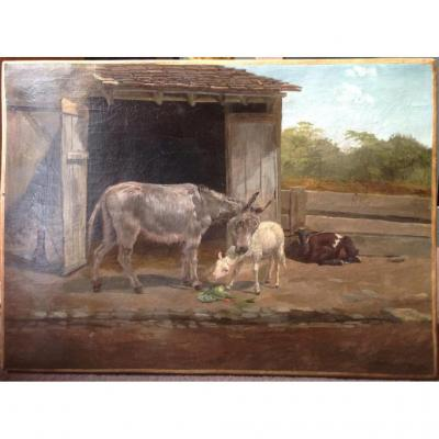 """P. Carbotte - Oil And Canvas """"ass And Sheep At La Ferme"""" 1875"""