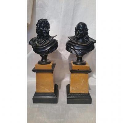 Buste De Mazarin Et Autre Non Identifié En Bronze 19ème