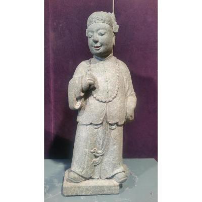Chine 18ème - Sculpture En Granit Dignitaire Debout
