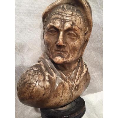 Buste D Homme En Albâtre 17 Eme