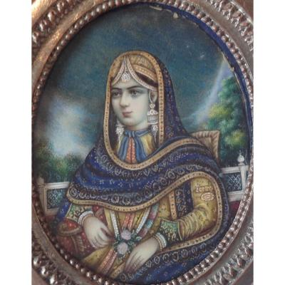 Miniature Kadjar Iran 19eme - Portrait De Femme
