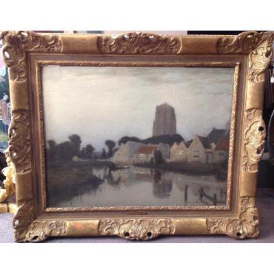 """R.a. Ulmann - Tableau """"paysage Au Crépuscule"""" 1910"""