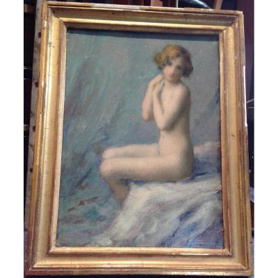 M. Carpentier - Jeune Femme Nue Huile Sur Panneau