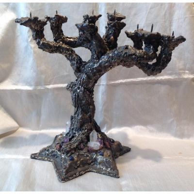 Judaica Chandelier 7 Branches Menorah Bronze Twentieth