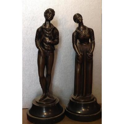 Bronze Sculptures 19th Couple Of Black Americans