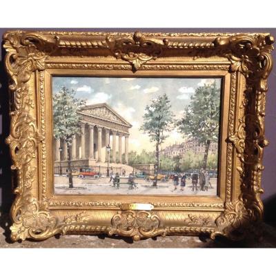 E.drouet - Aquarelle Place De La Madeleine 1900