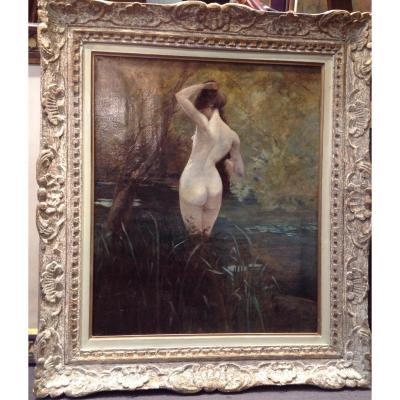 Tableau Symboliste, Femme Nue Dans Un étang Fin XIXeme