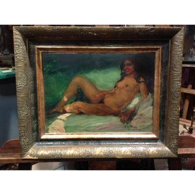 "Z. Nagy - Tableau ""la tigresse"" huile 1917"