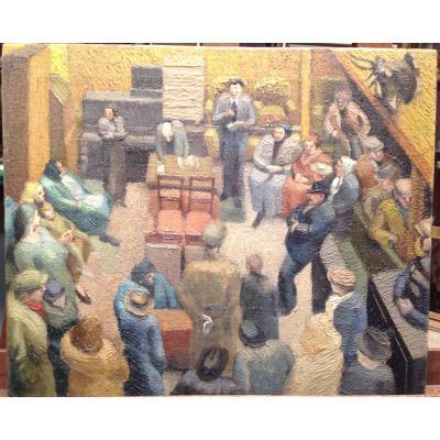 Huile S/toile - Assemblée De Villageois Ou Tribunal Vers 1910