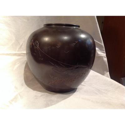 Gros Vase En Bronze Japon Meiji 19eme - Pêcheurs