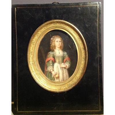 "Large Miniature On Ivory ""young Woman"" Early Nineteenth"