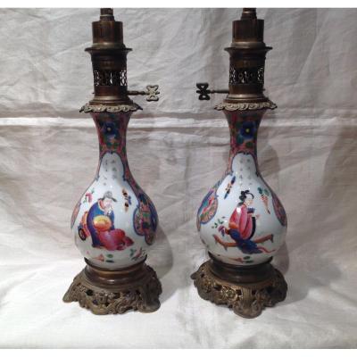 Paire De Lampe 19eme En Porcelaine De Bayeux Décor Au Chinois N III