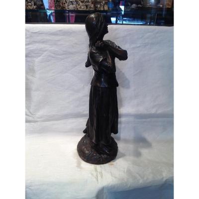 R. Larche - Sculpture Bronze Jeanne d'Arc Fin 19eme