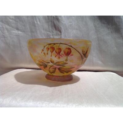 Daum - Coupe pâte de verre  Art Nouveau à Décor De Fleurs Clochettes