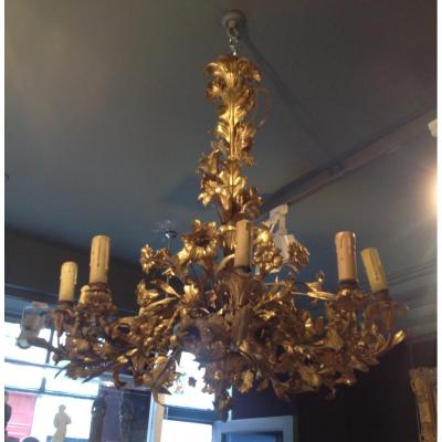 Large Gilt Bronze Chandelier With Flower Decor