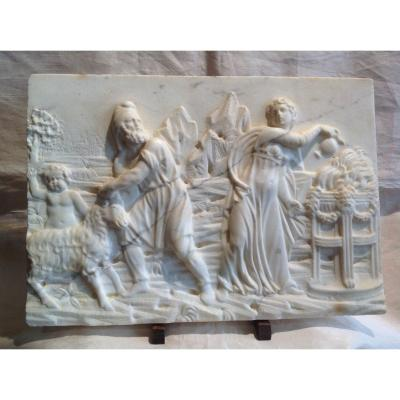 Bas-relief en  Marbre Blanc 18ème - Sacrifice De l'Agneau