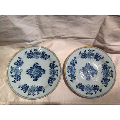 Delf 18th - Pair Of Large Earthenware Dishes