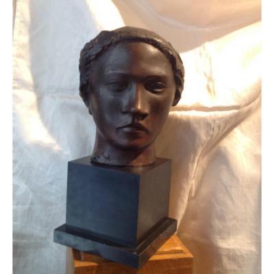Sculpture En Bronze - Tête De Femme d'Océanie Ou Tahitienne