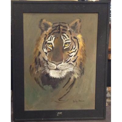 Taly-brice - Tableau tête de tigre