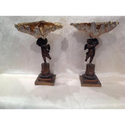 Pair Of Bronze Loves Topped With Shell 19th