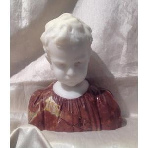 Sculpture Buste De Garçon En Marbre Blanc Et Rouge 1900