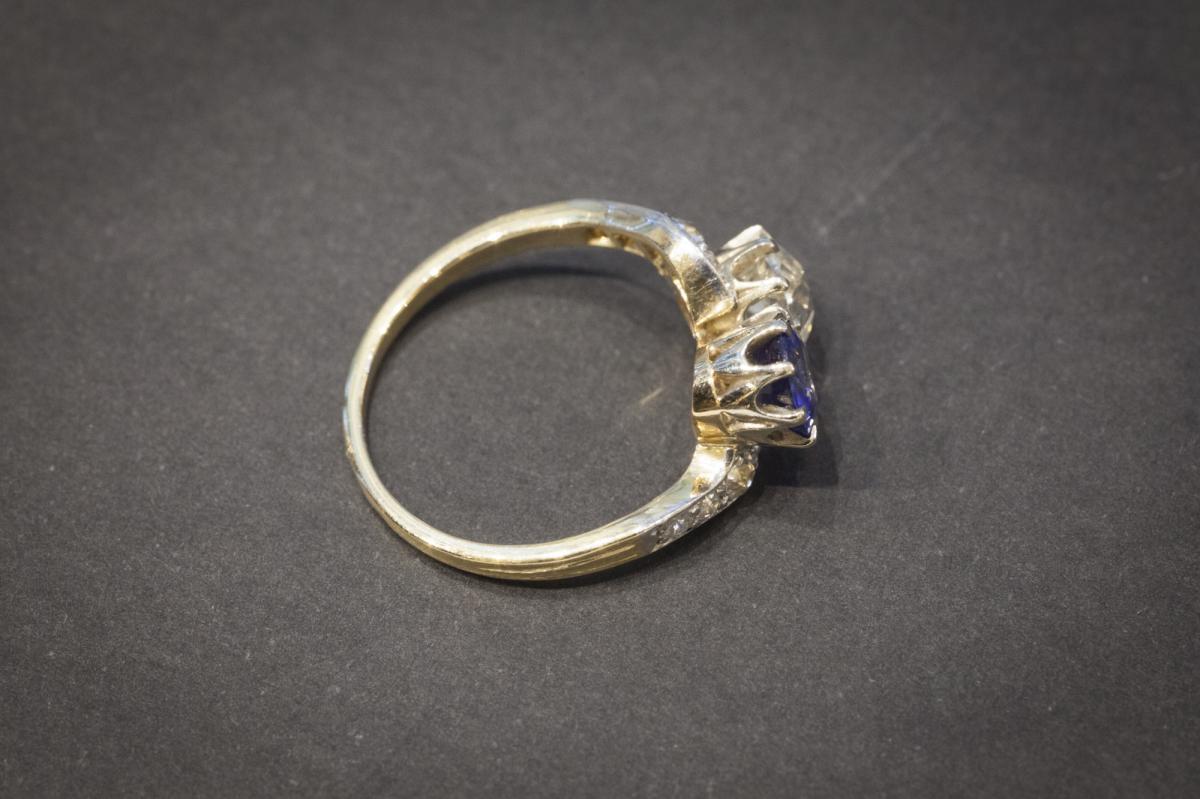 """Bague Ancienne """"Toi et Moi"""" en  Or, Saphir et Diamants-photo-4"""