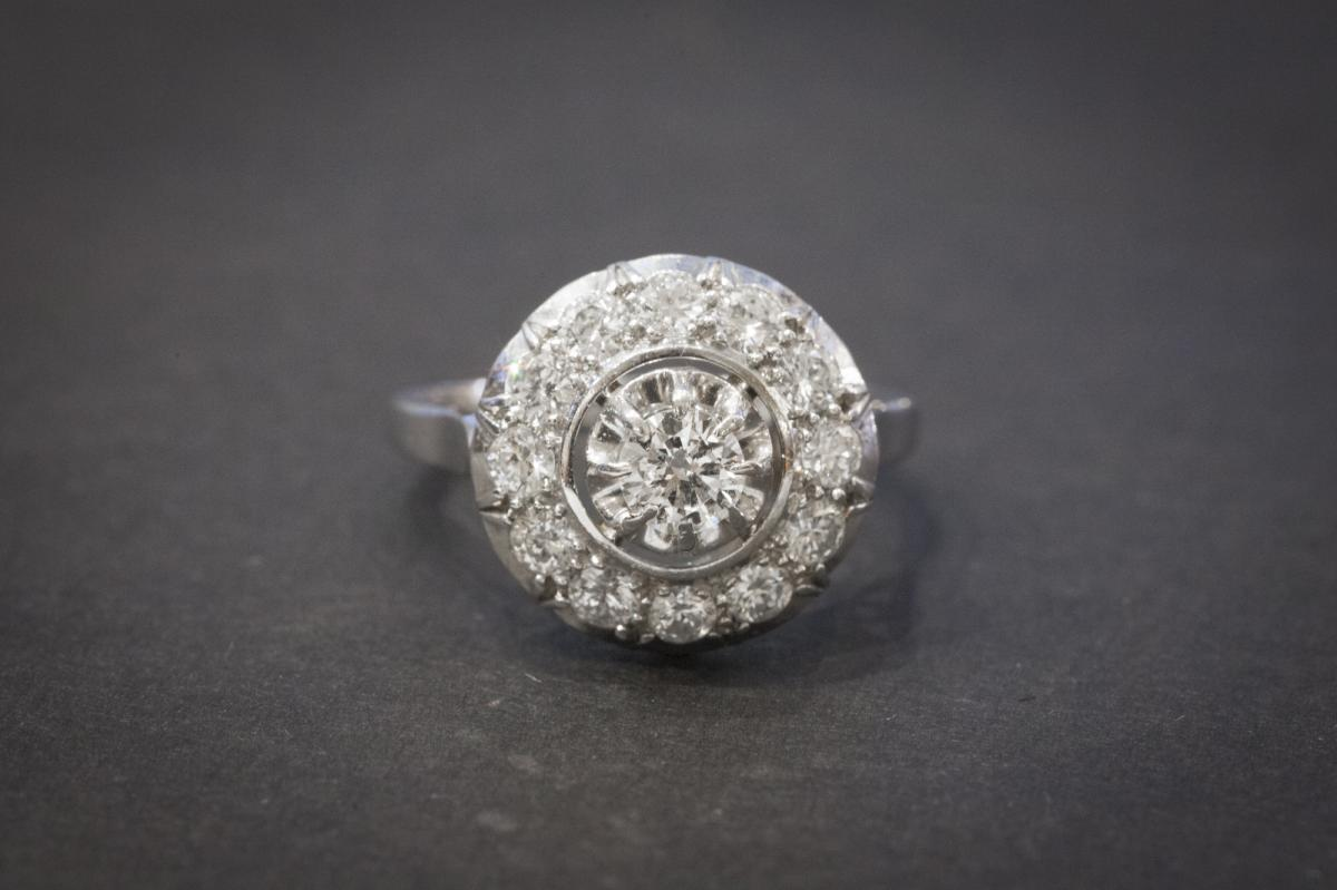 Bague Ancienne en Or Blanc sertie de Diamants
