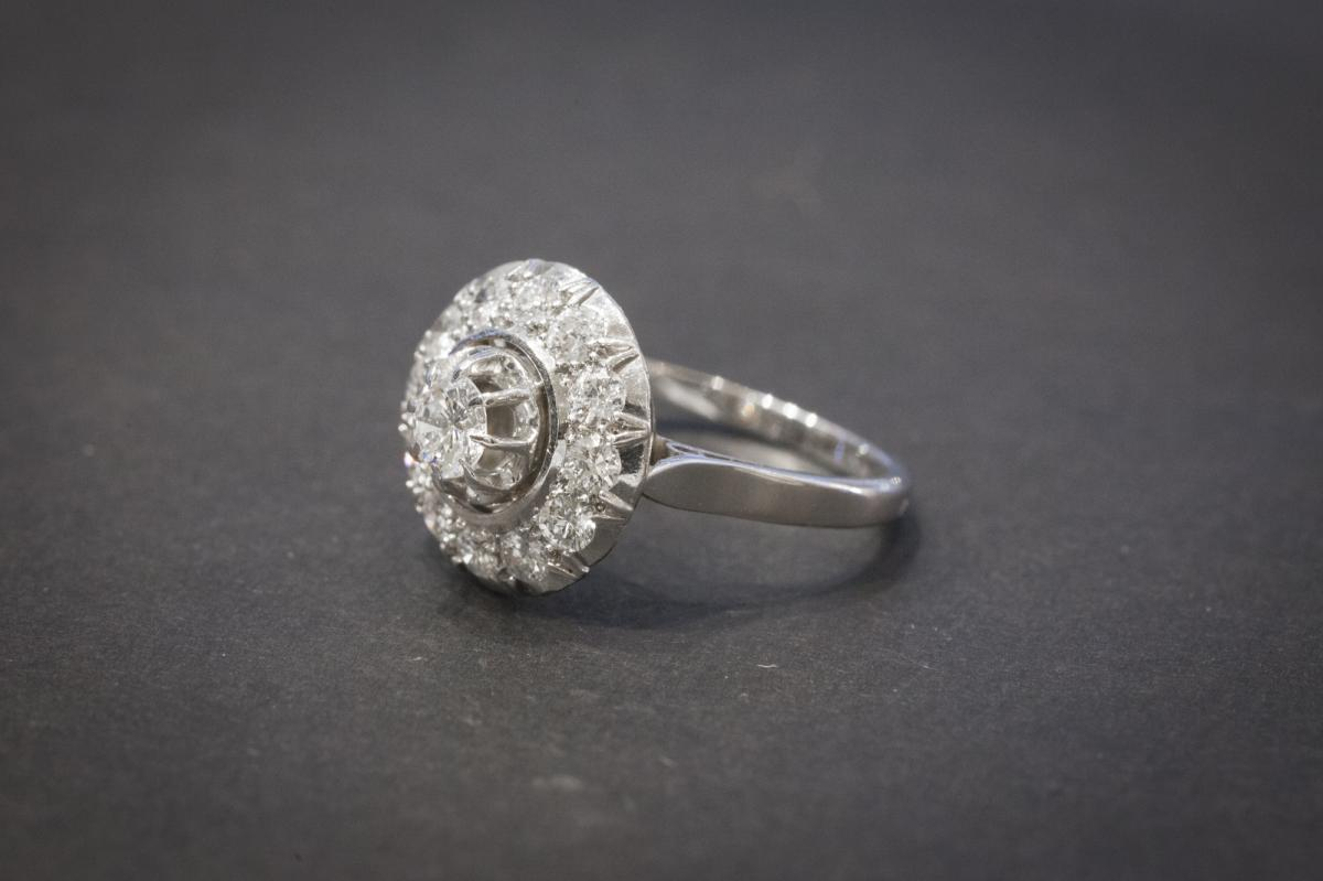 Ancient Ring In White Gold Set With Diamonds-photo-2