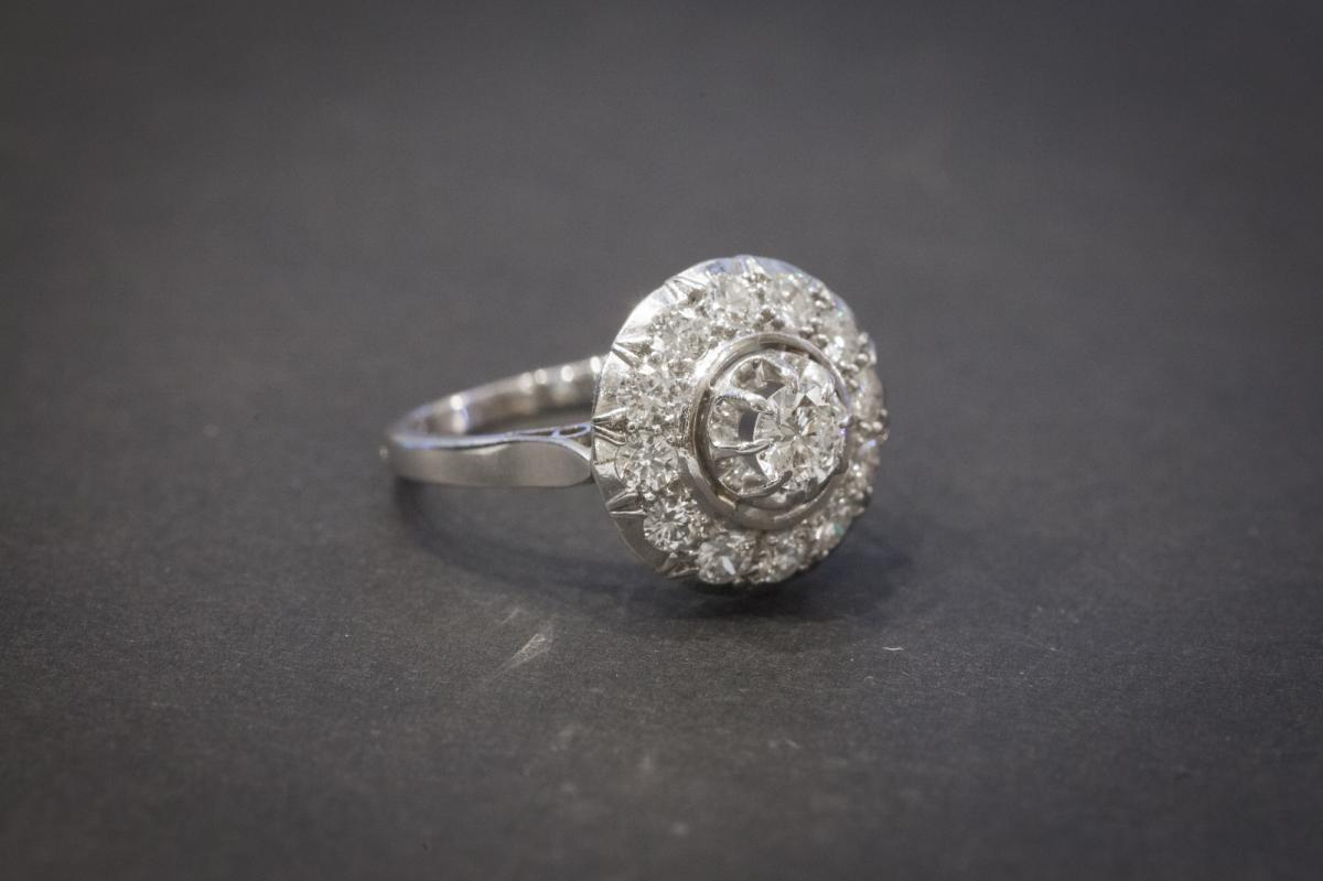 Ancient Ring In White Gold Set With Diamonds-photo-3