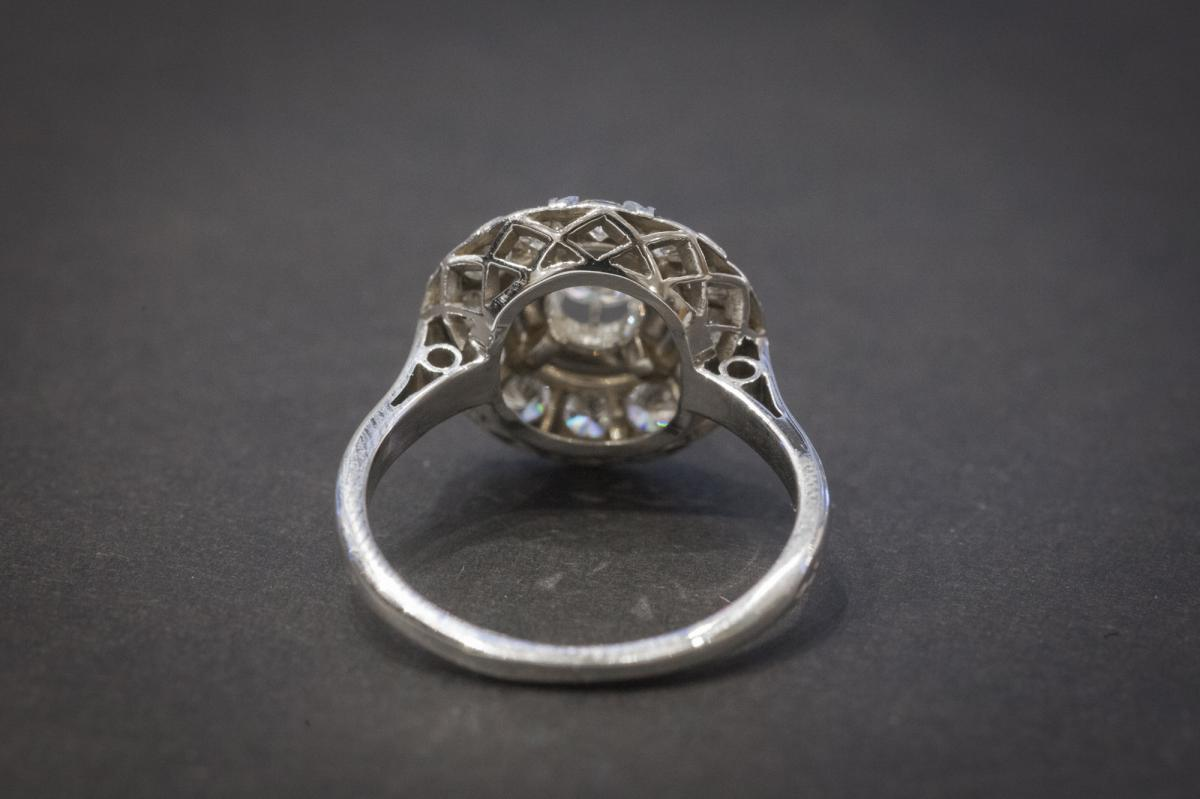 Ancient Ring In White Gold Set With Diamonds-photo-4