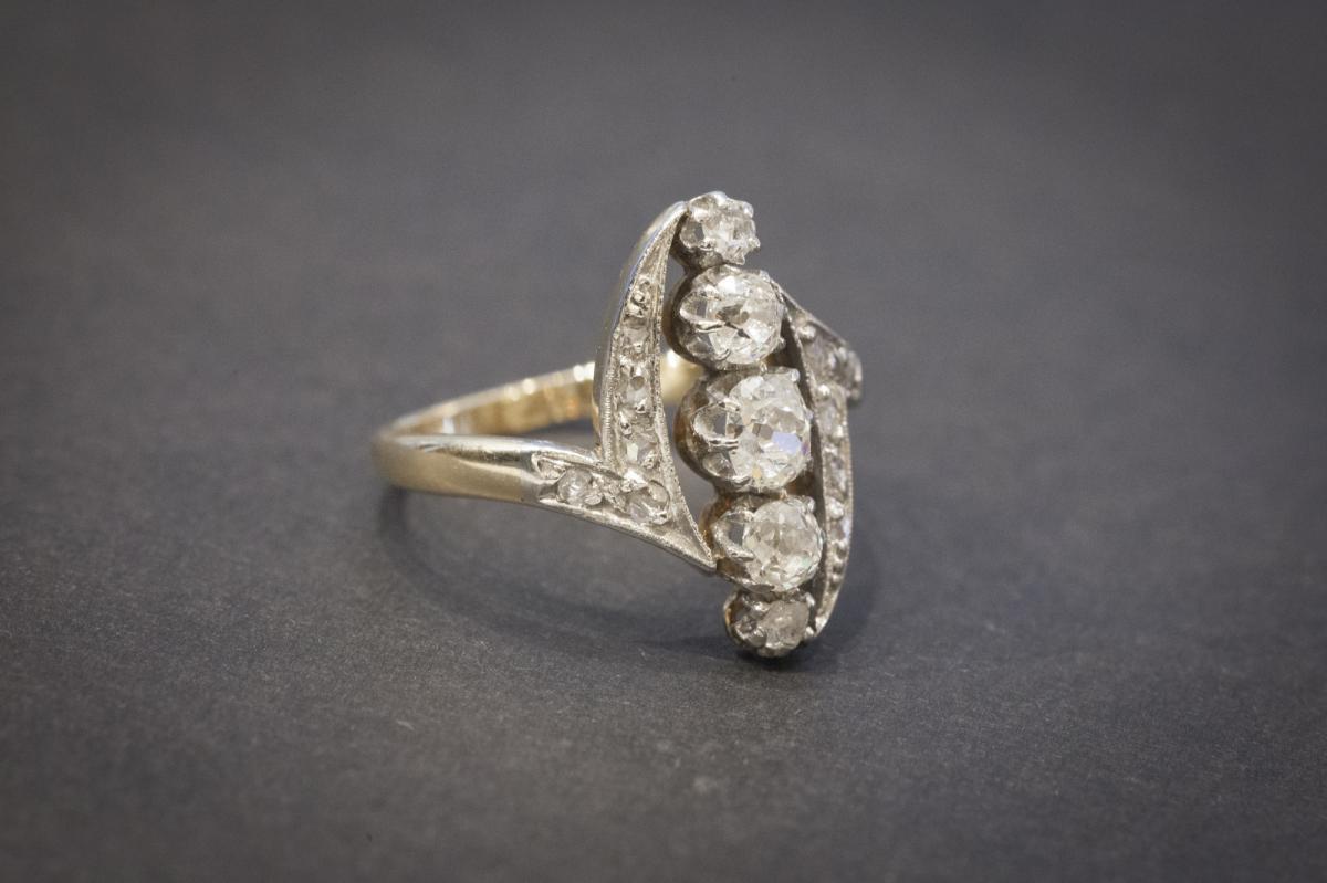 Bague Navette Ancienne en Or, Platine et Diamants-photo-3