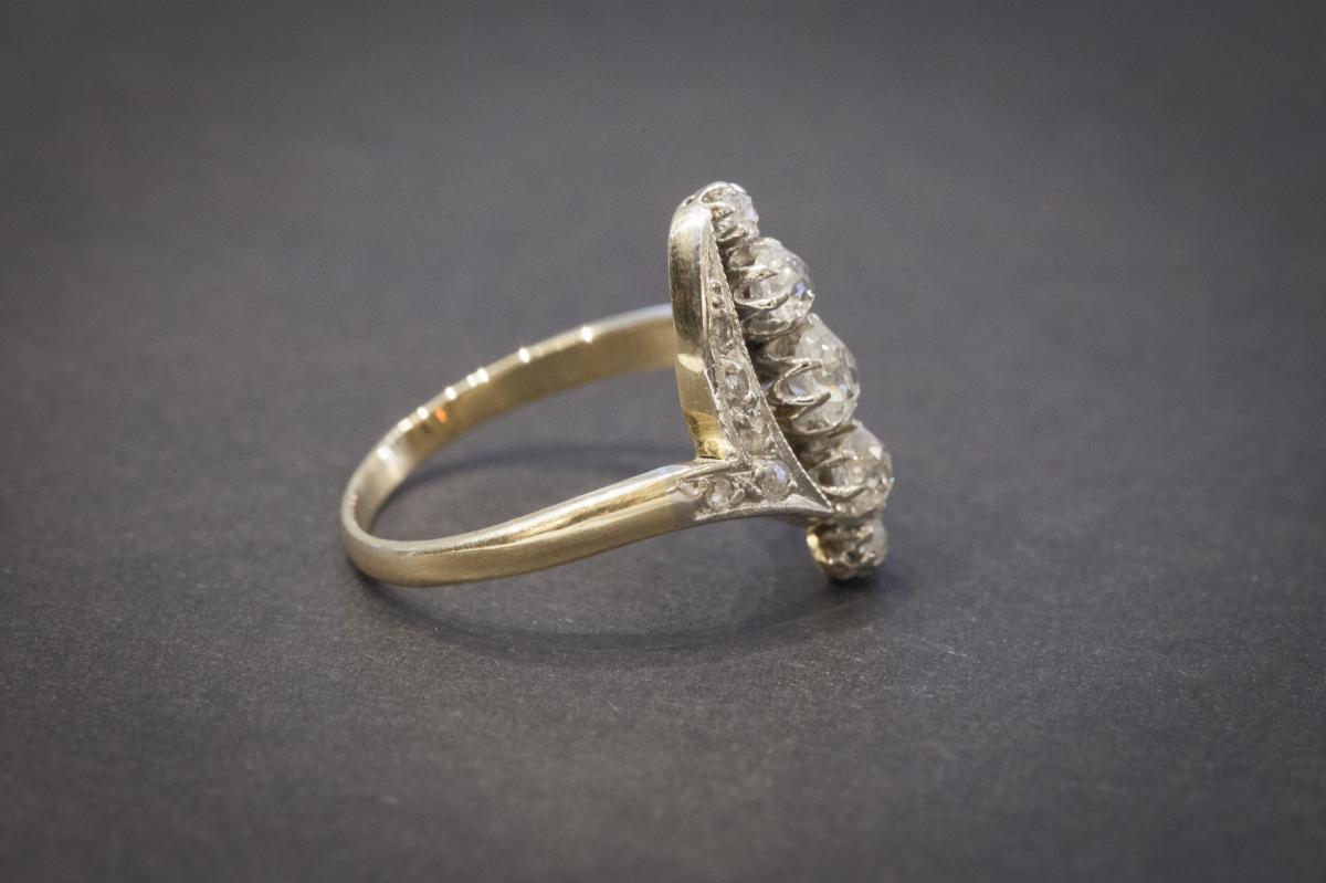 Bague Navette Ancienne en Or, Platine et Diamants-photo-4