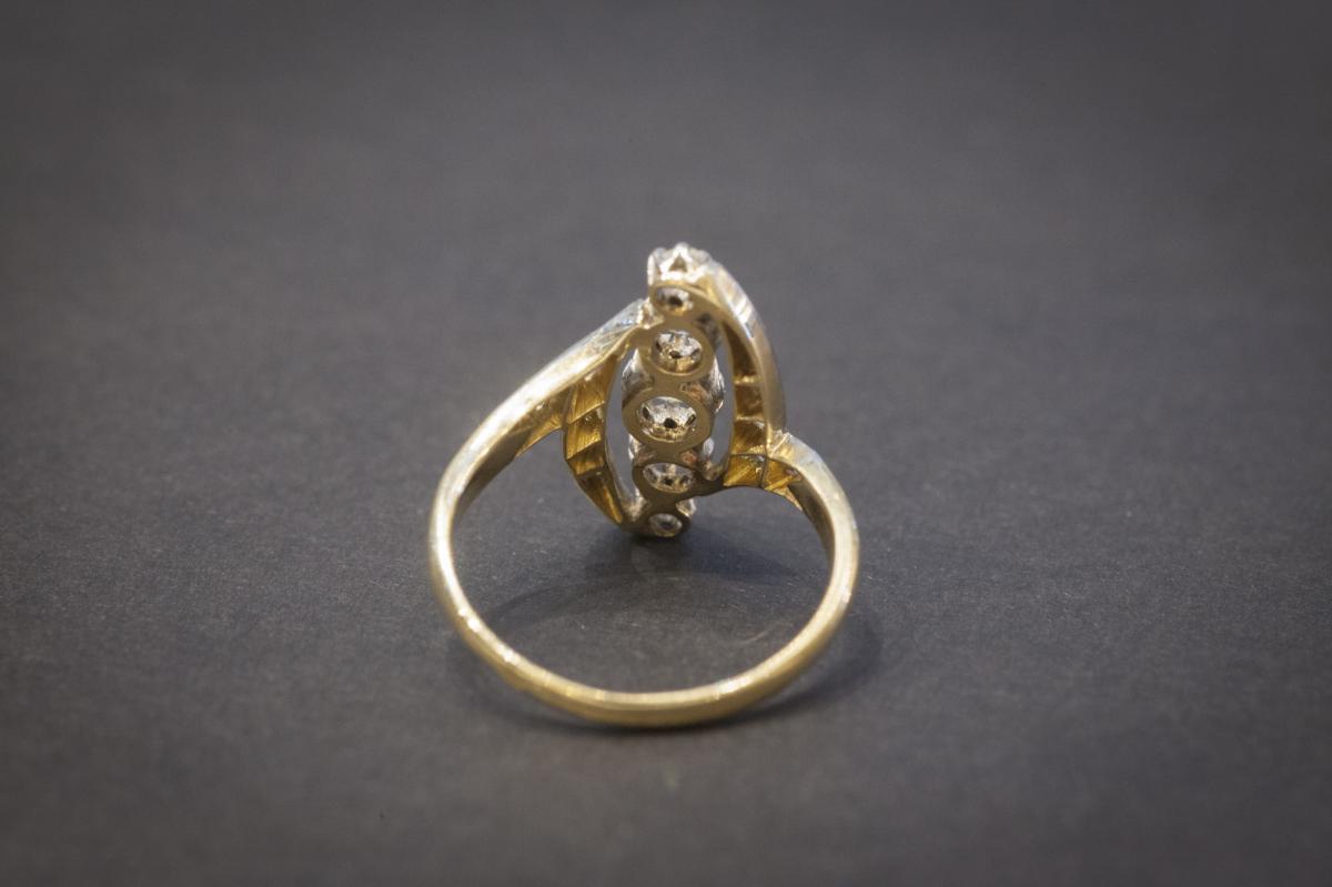 Bague Navette Ancienne en Or, Platine et Diamants-photo-1