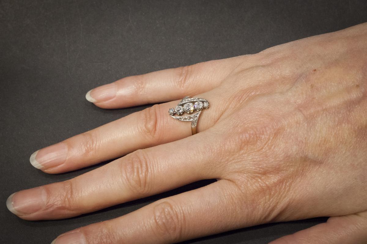 Bague Navette Ancienne en Or, Platine et Diamants-photo-2
