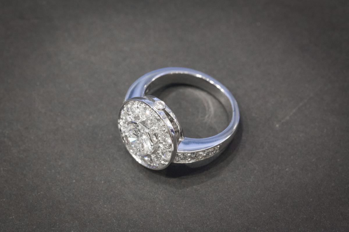 Bague Vintage en Or Blanc et Diamants-photo-2