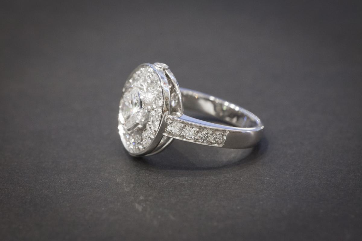 Bague Vintage en Or Blanc et Diamants-photo-3
