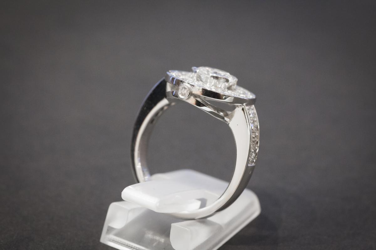 Bague Vintage en Or Blanc et Diamants-photo-4