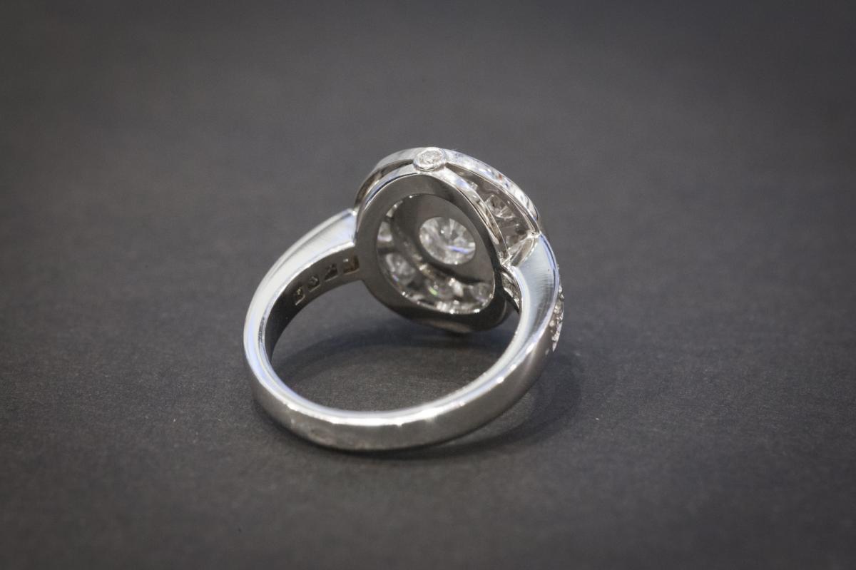 Bague Vintage en Or Blanc et Diamants-photo-1