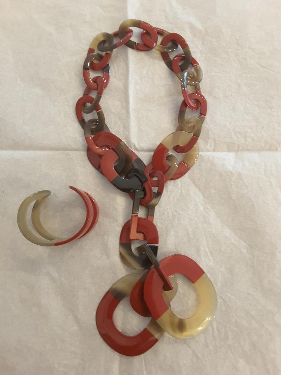 Parure Collier et Bracelet HERMES Modèle Isthme en Corne Laquée -photo-2
