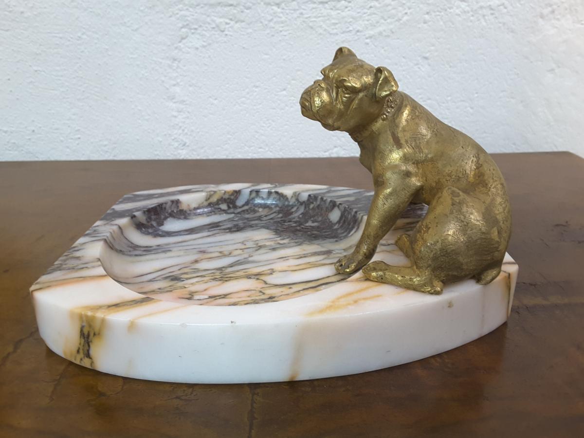 """Vide-poche """"Bouledogue"""" en Bronze sur Marbre, XIXème Siècle"""