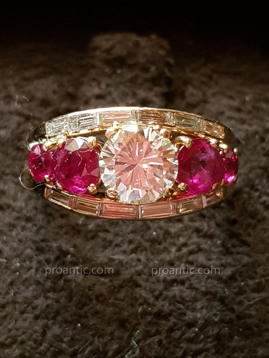 Bague Diamants et Rubis Sertis sur Or Rose
