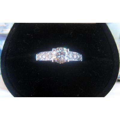 Bague En Or Blanc 18 Carats, Diamants