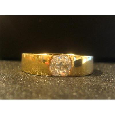 Bague Chevalière En Or Jaune 18 Carats, Diamant