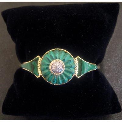Bracelet Or, Malachite Et Diamants