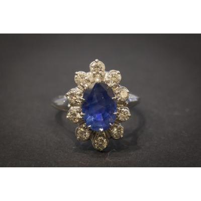Bague Vintage en Or Blanc, Saphir et Diamants