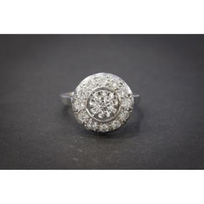 Bague Ancienne en Or Blanc sertie de Diamants