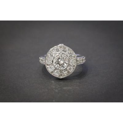 Bague Vintage en Or Blanc et Diamants
