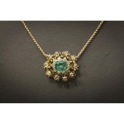 Collier en Or Rose, Émeraude et Diamants,  XIXème Siècle